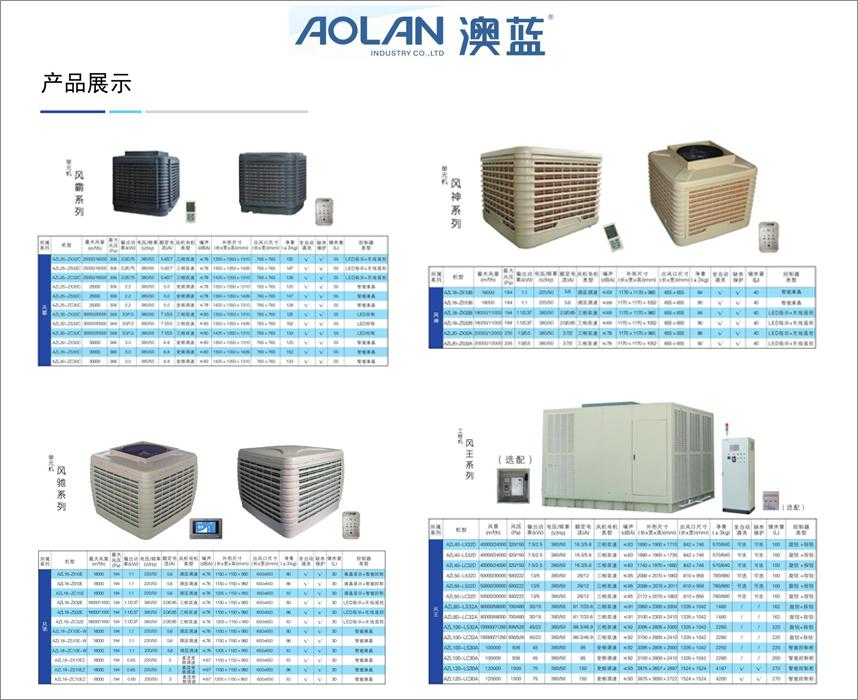 澳蓝环保空调、冷风机、蒸发式冷气机设备型号及参数