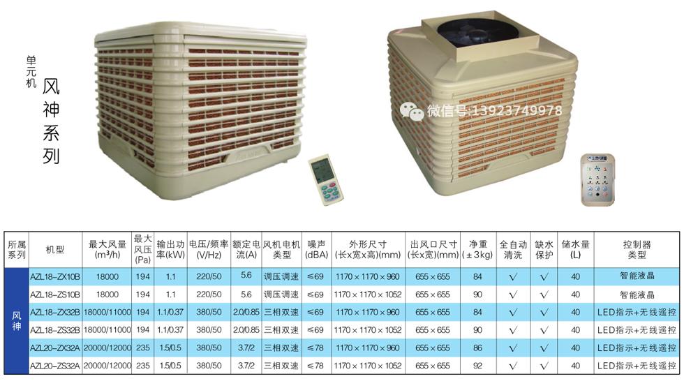 澳蓝环保空调风神系列产品型号及技术参数