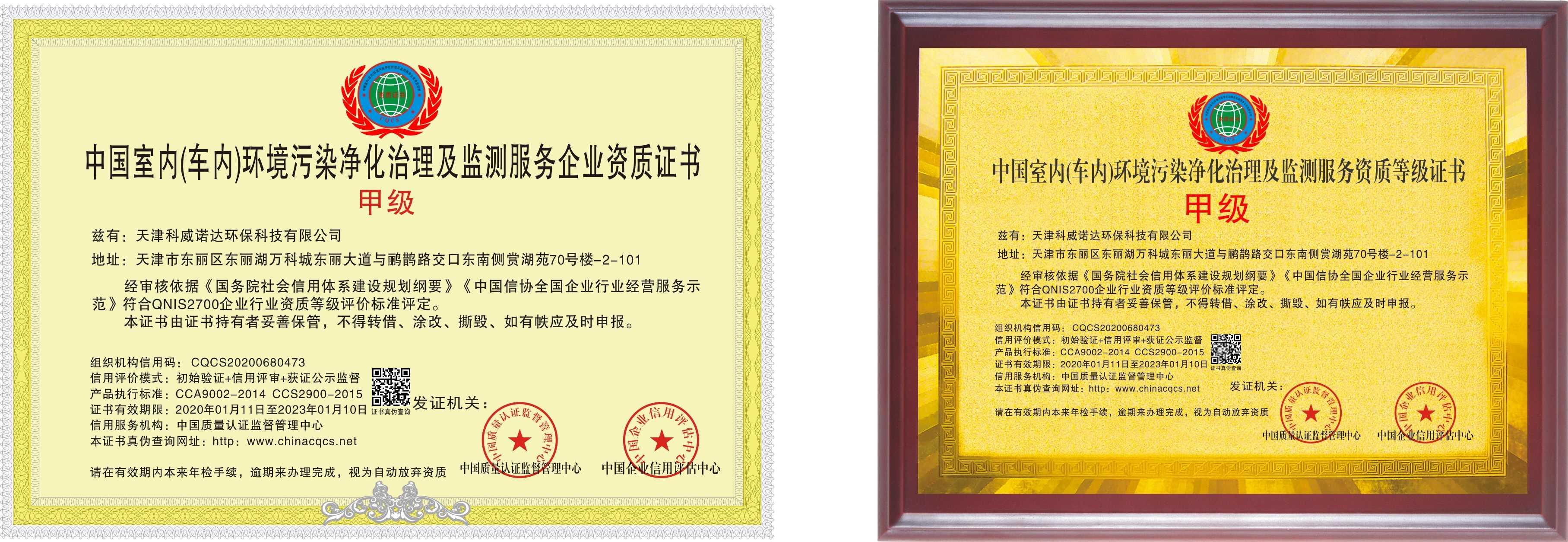 荣誉证书-贝博备用网址及监测资质-甲级