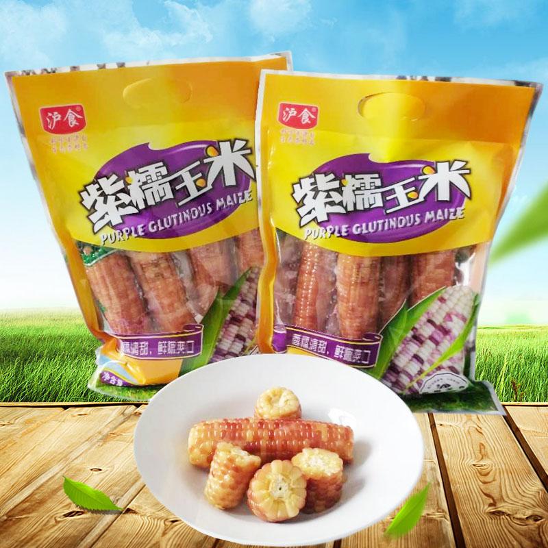 沪食紫糯玉米熟玉米开袋即食单根真空包装香甜软糯崇明玉米棒2袋5