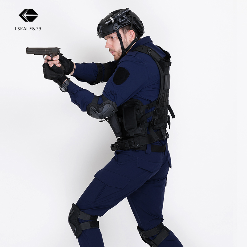 多功能藏藍長袖速干作訓服