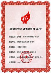 2008國家火炬計劃證書