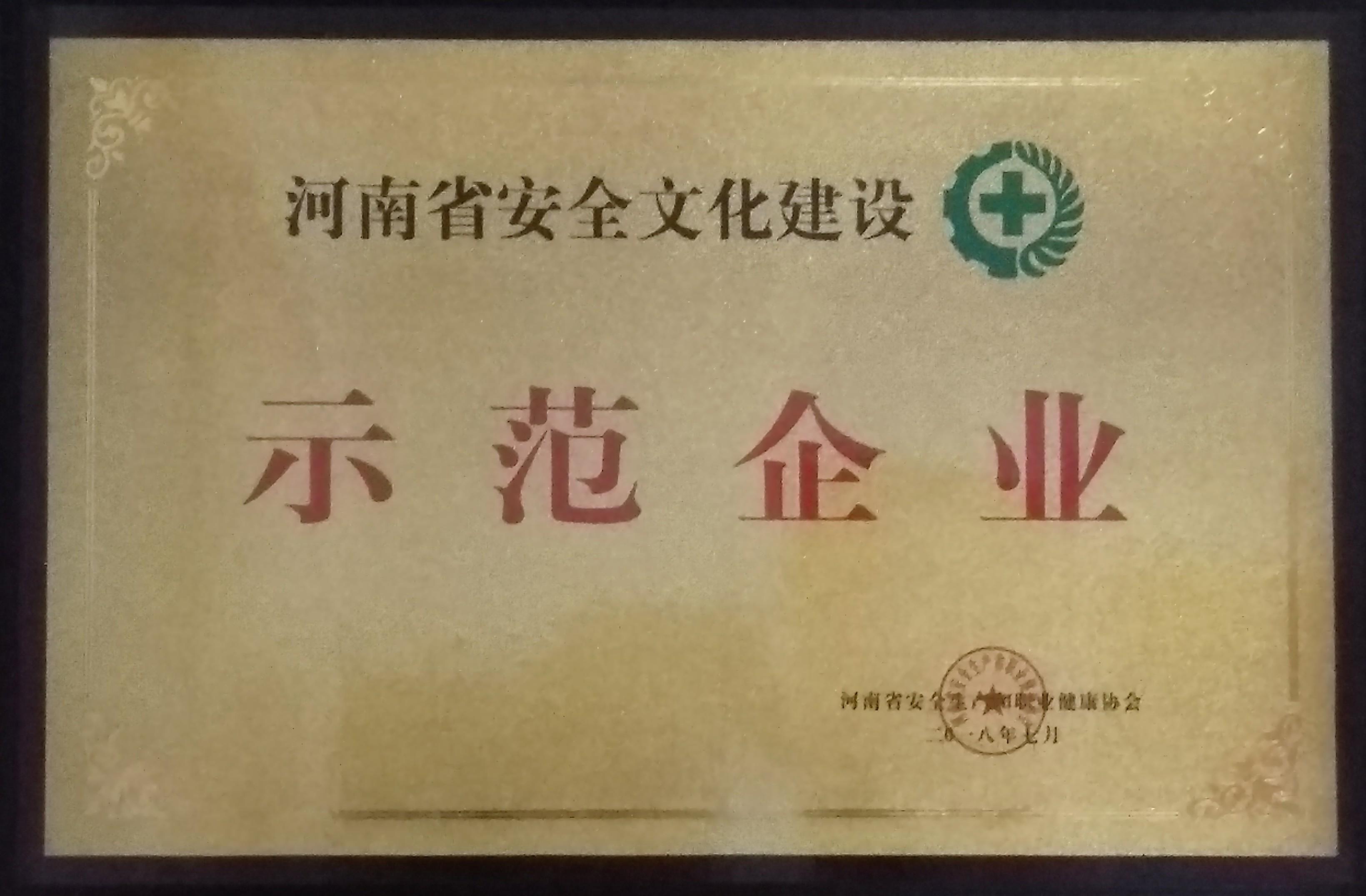 河南省安全文化建设示范企业