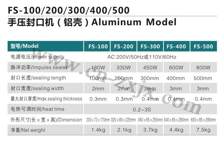 FS-100、200、300、400、500手壓封口機-鋁殼1