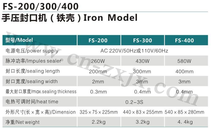 FS-200、300、400手壓封口機-鐵殼1