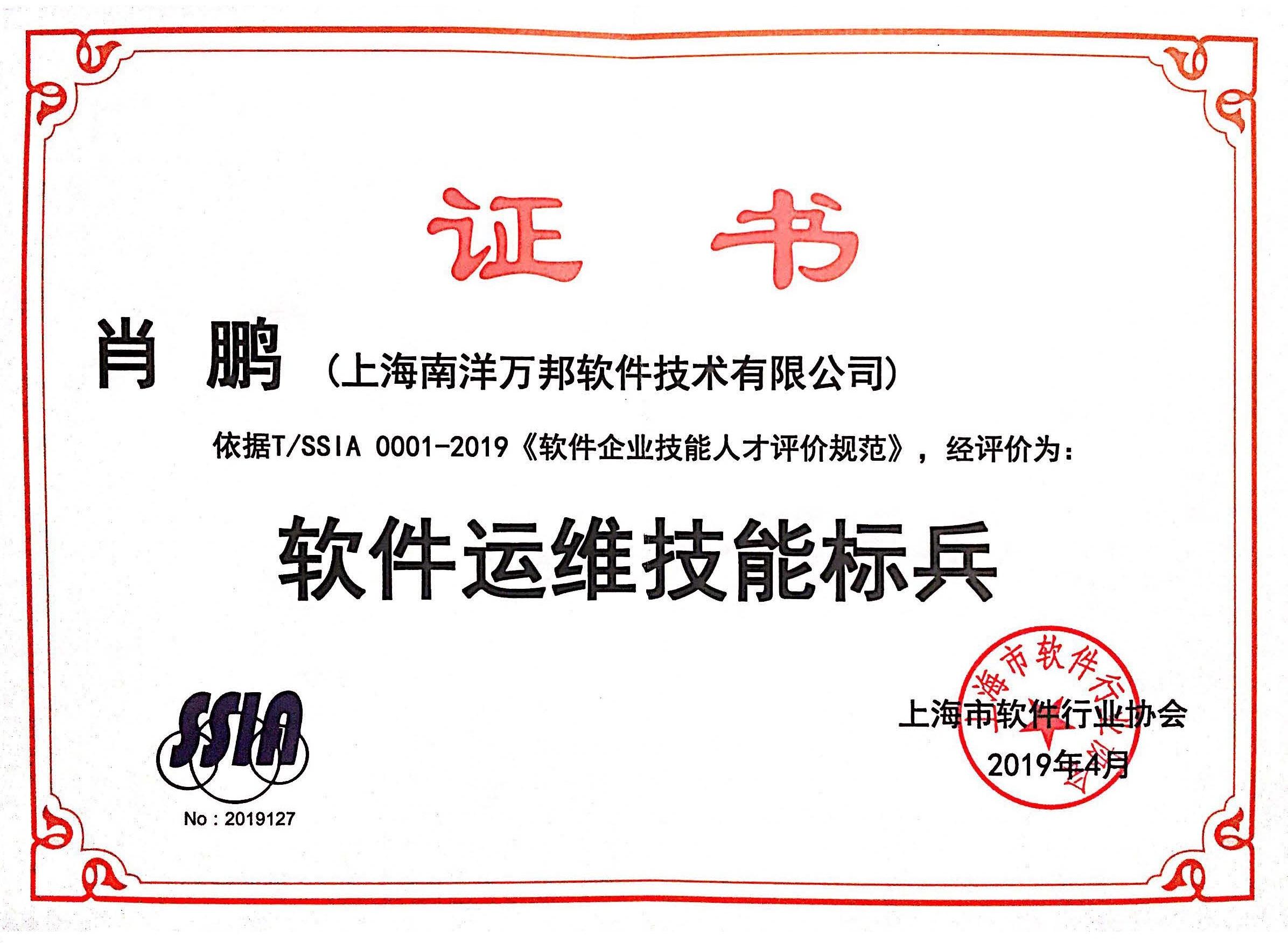 肖鹏——软件运维技能标兵证书