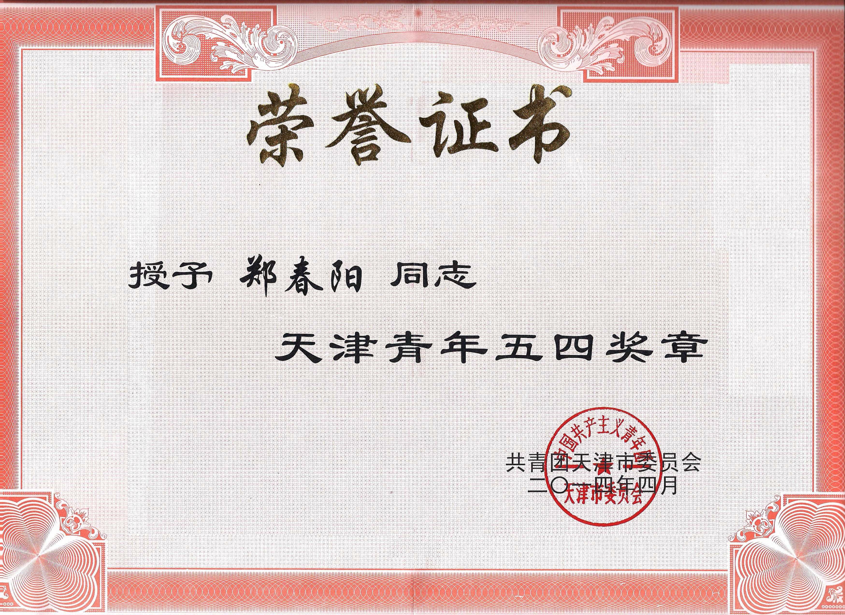 公司榮譽-五四青年獎章