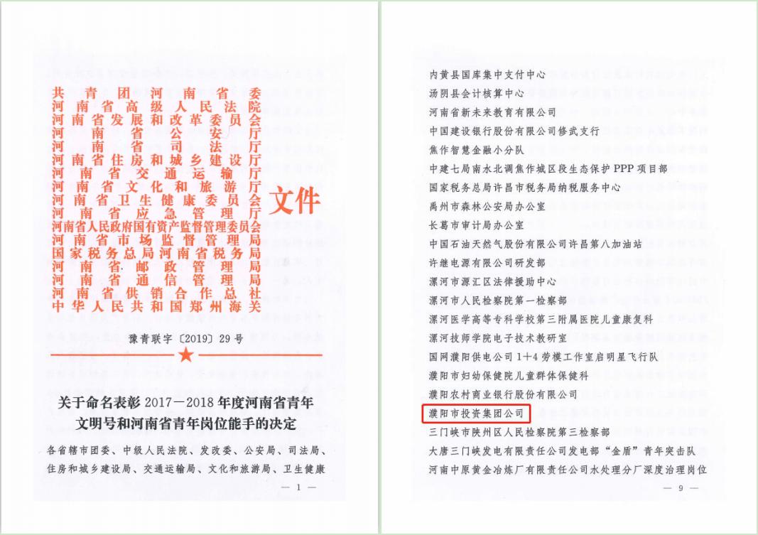 """集團公司成功爭創""""河南省青年文明號"""""""