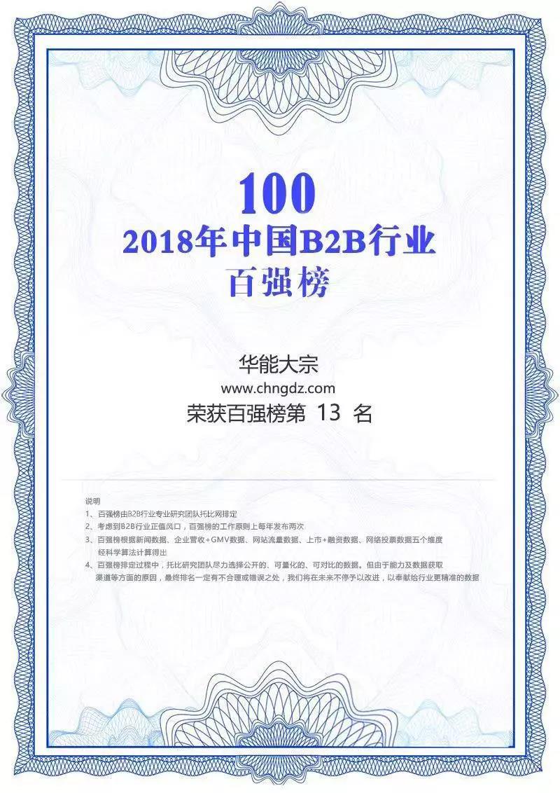 2018中國B2B行業百強企業第13名