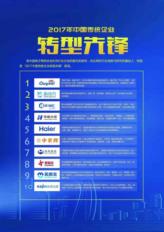 2017年中國B2B行業傳統企業轉型先鋒第4名