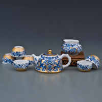 扁平壶福纹描金茶具