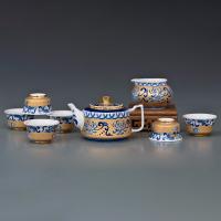 菊花纹扁平壶茶具
