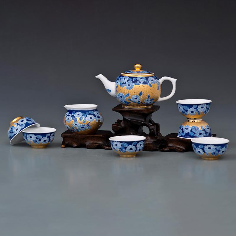 苹果壶菊花纹描金茶具