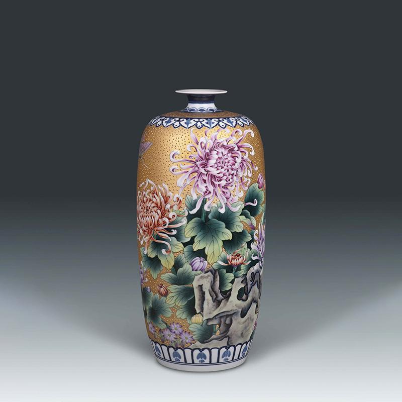 菊花纹东瓜瓶