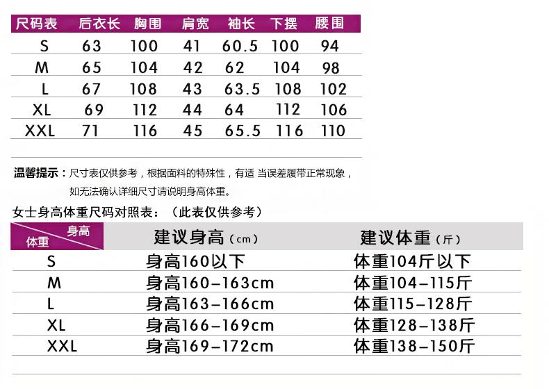 CM16尺寸表女