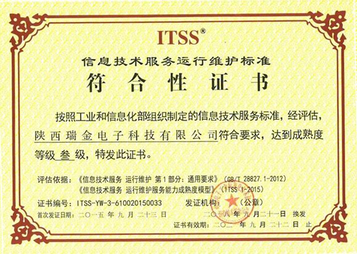 ITSS信息技术服务运行维护标准三级