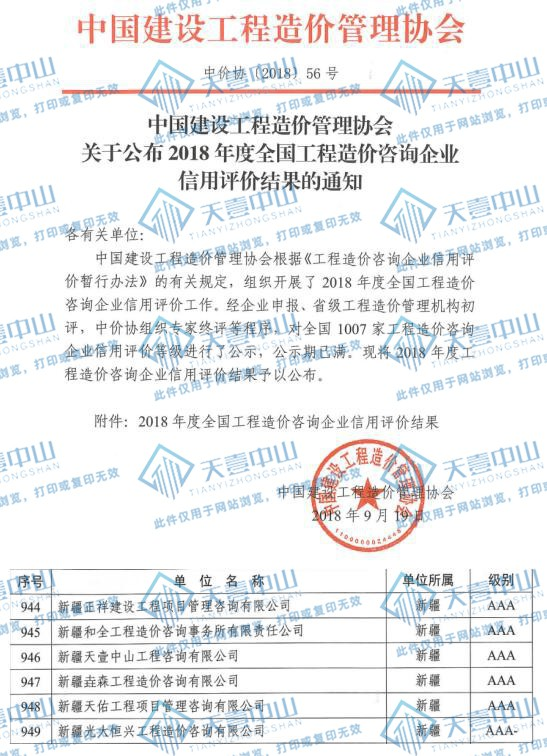 中国造价协会AAA信用评价资质