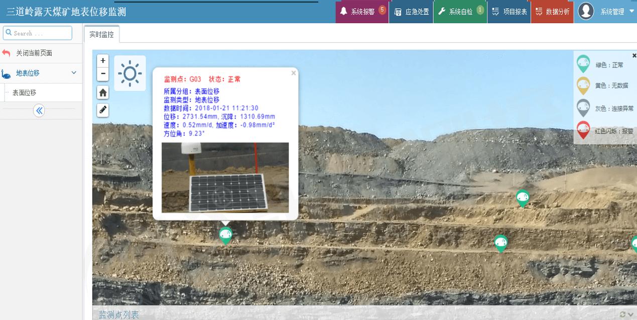 三道岭露天煤矿地表位移监测-水印