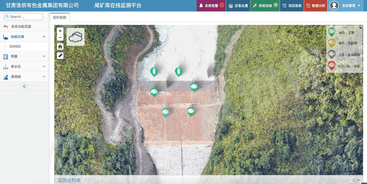 甘肃洛坝有色金属集团尾矿库在线监测平台-水印
