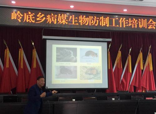 公司總經理曾國強在嶺底鄉病媒生物防制工作培訓會上講課