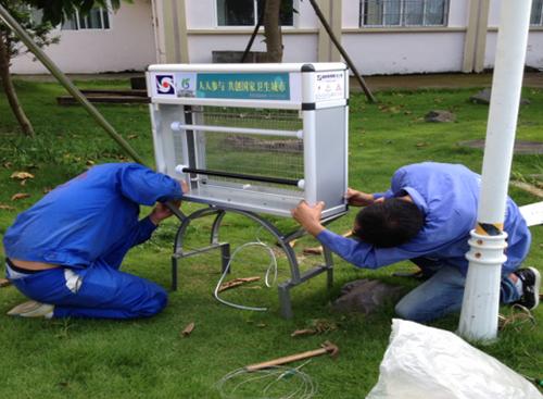 防制人員在公共外環境安裝戶外殺蟲滅蚊燈