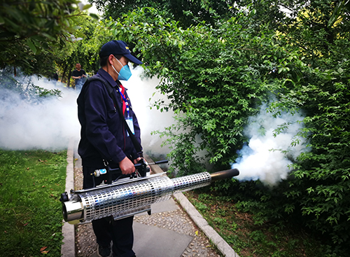 防制人員對園林滅蚊煙霧消殺施工