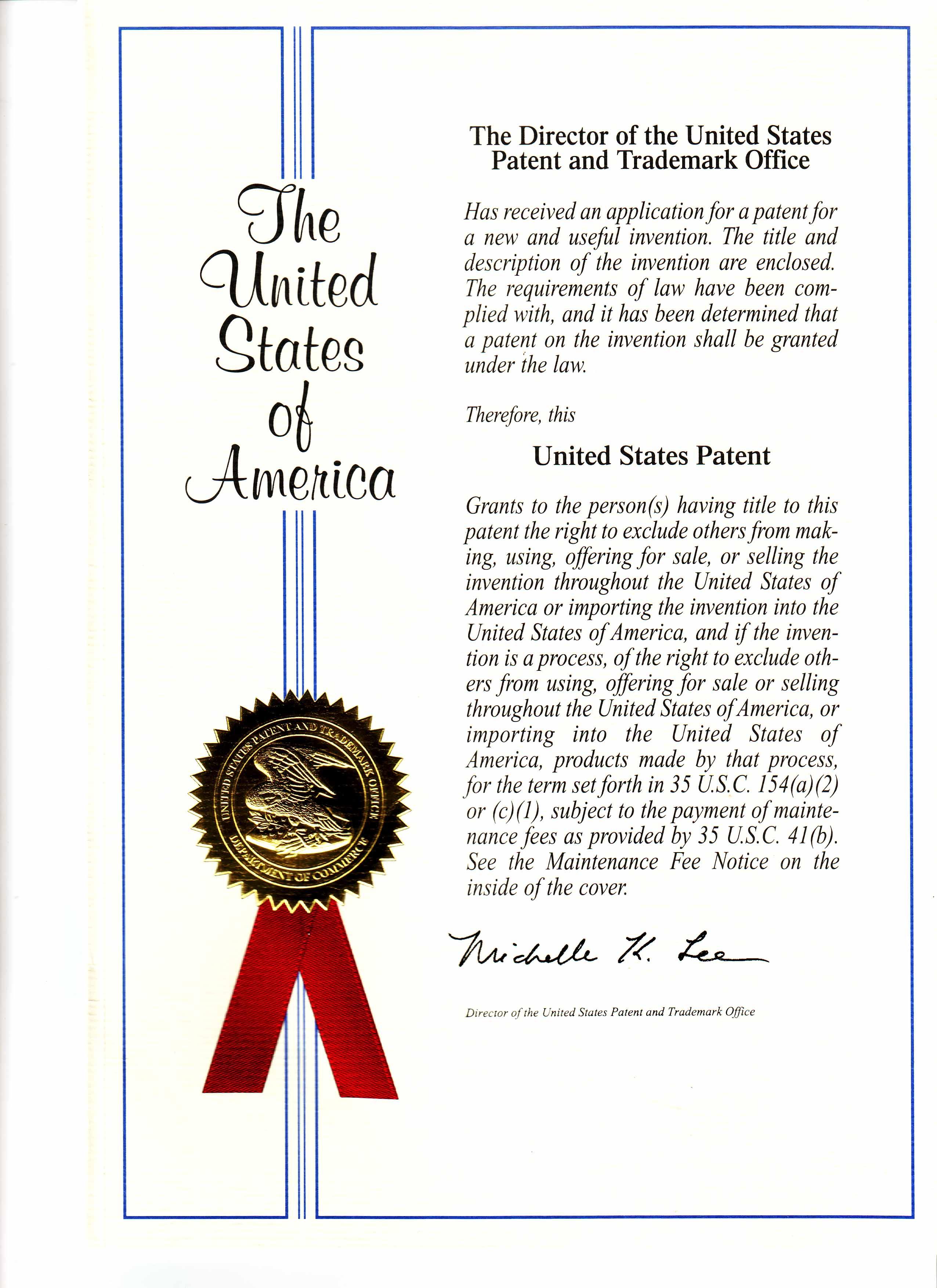 美國專利證書第1頁-首頁