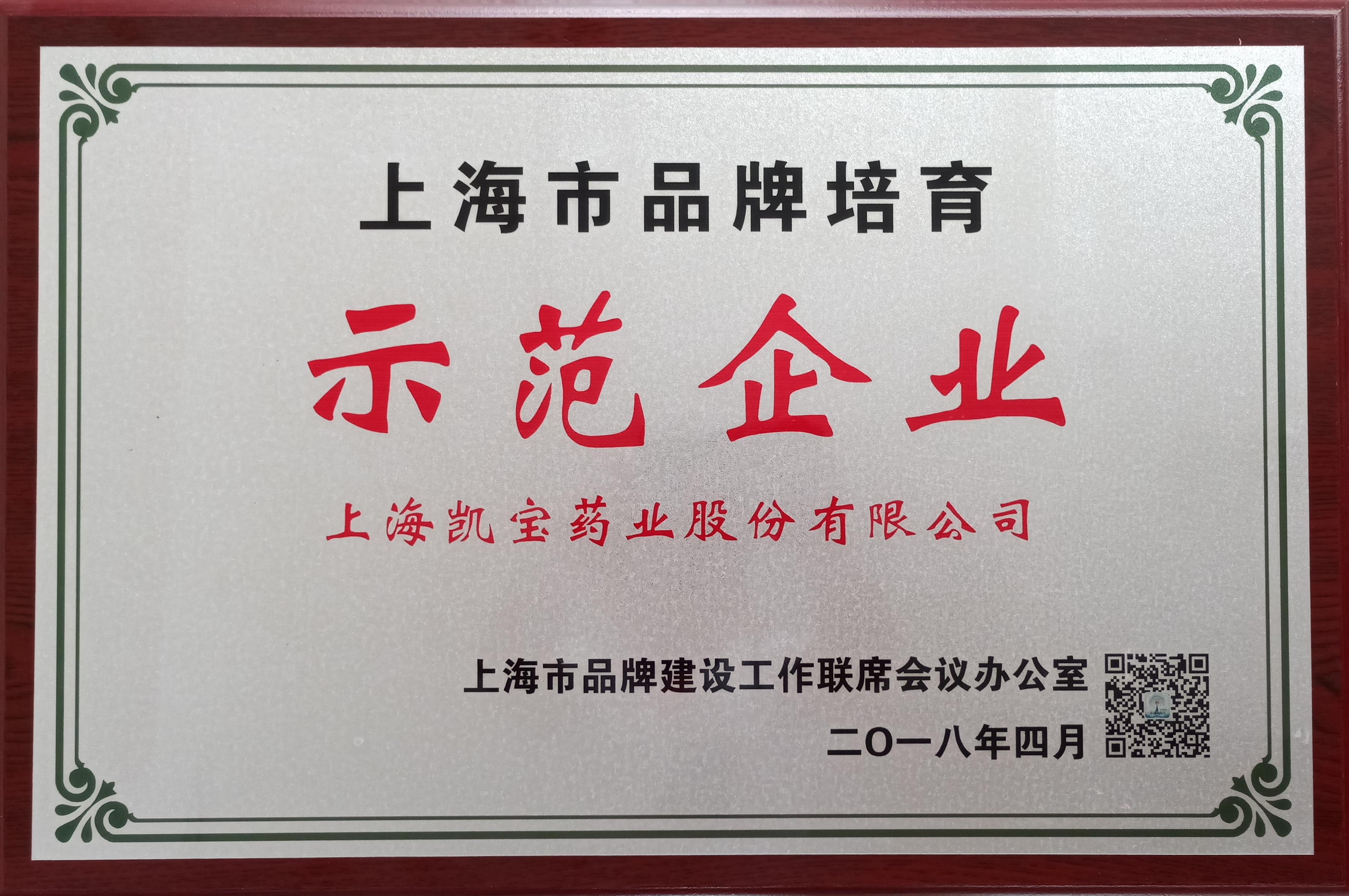 2018.04上海品牌培育示范企業