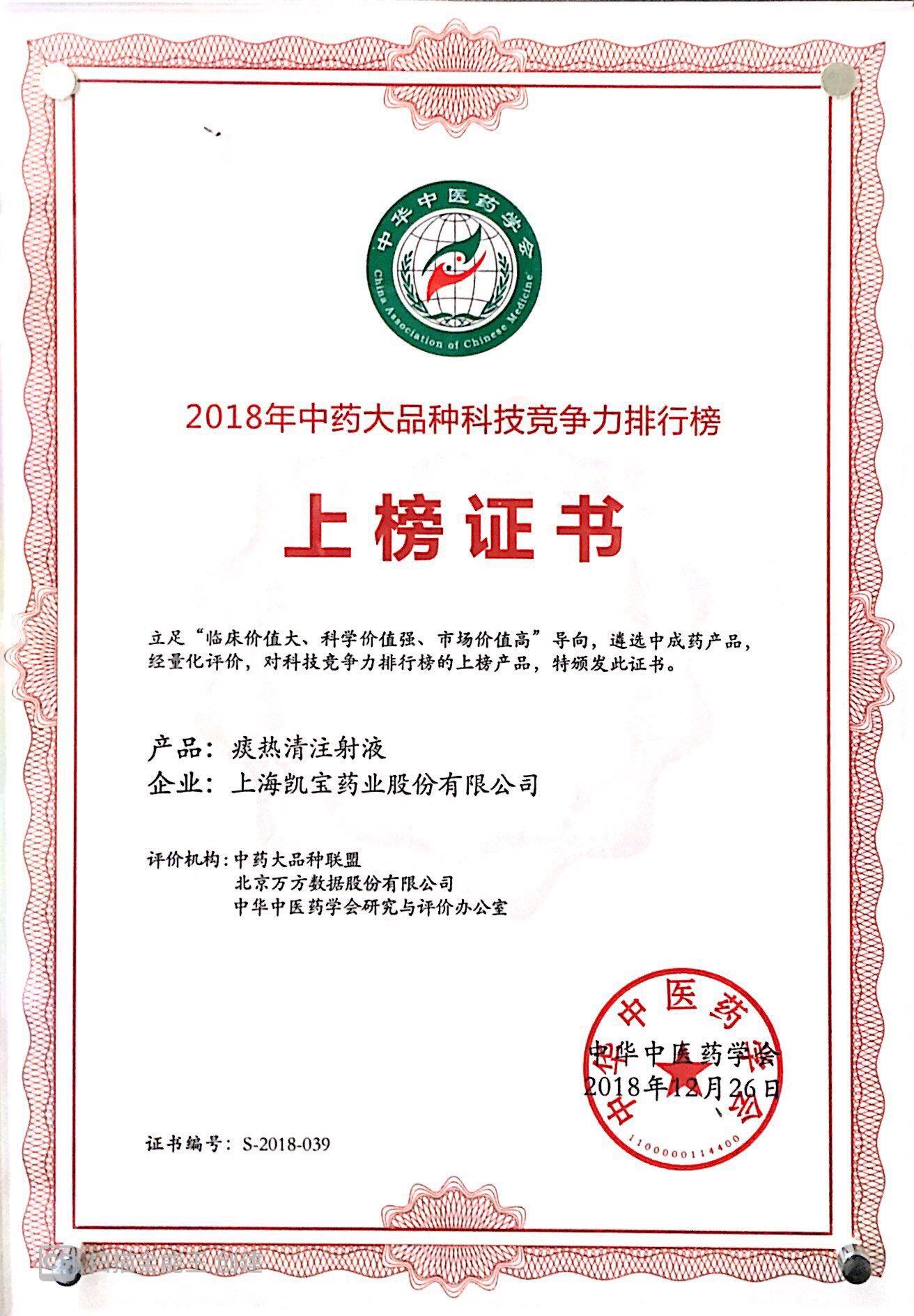 2018.12中藥大品種科技競爭力排行榜