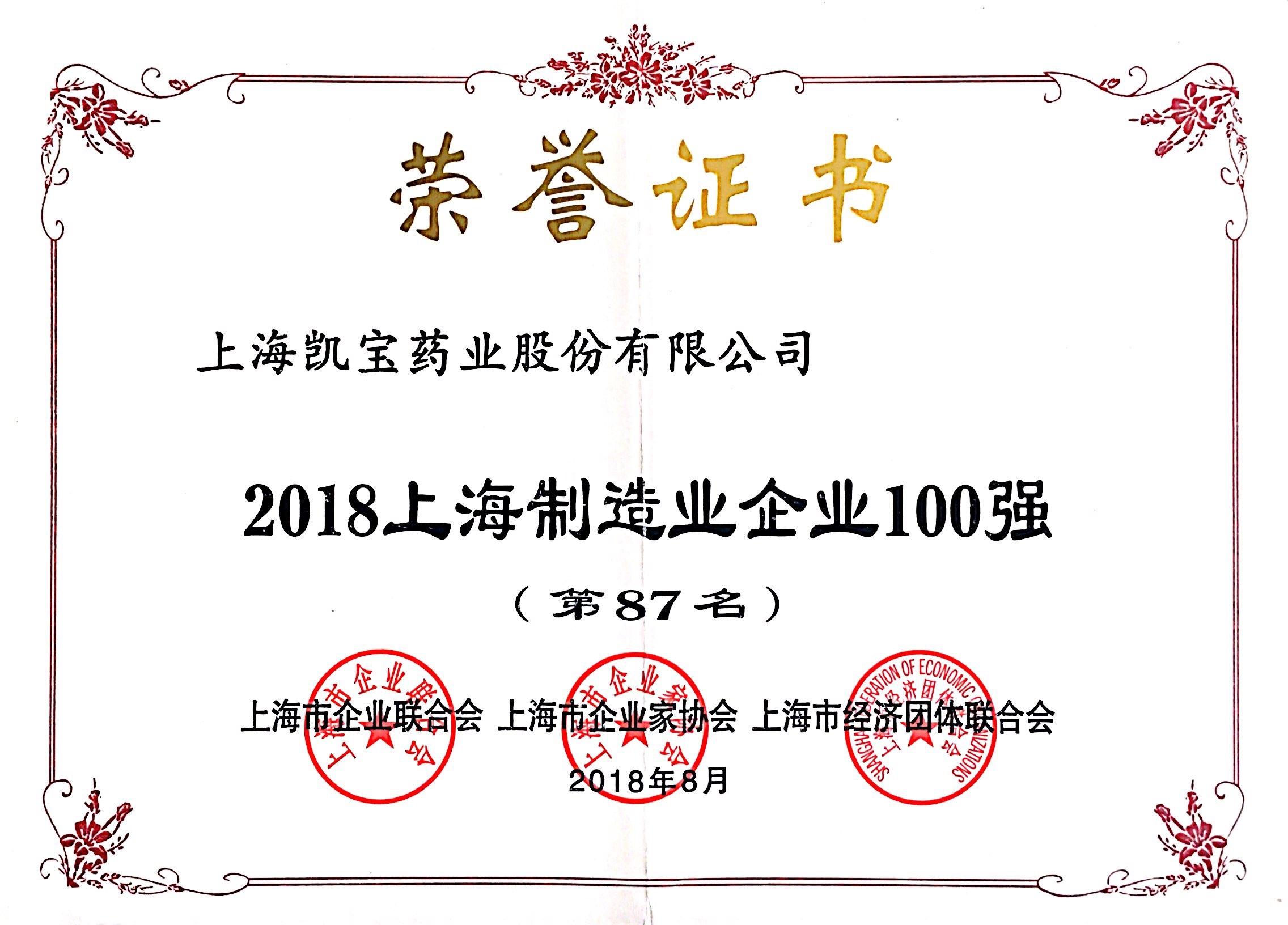 2018-08上海制造业企业100康