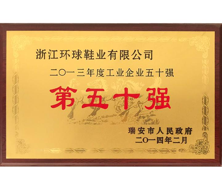 2014.2月獲得瑞安市工業企業第五十強