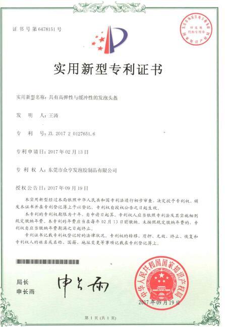 企业荣誉-9、发泡头盔专利证书