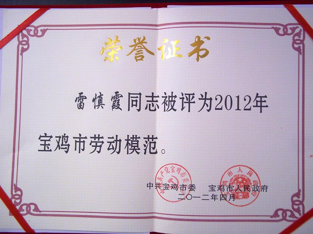 公司總經理雷慎霞寶雞市勞動模范