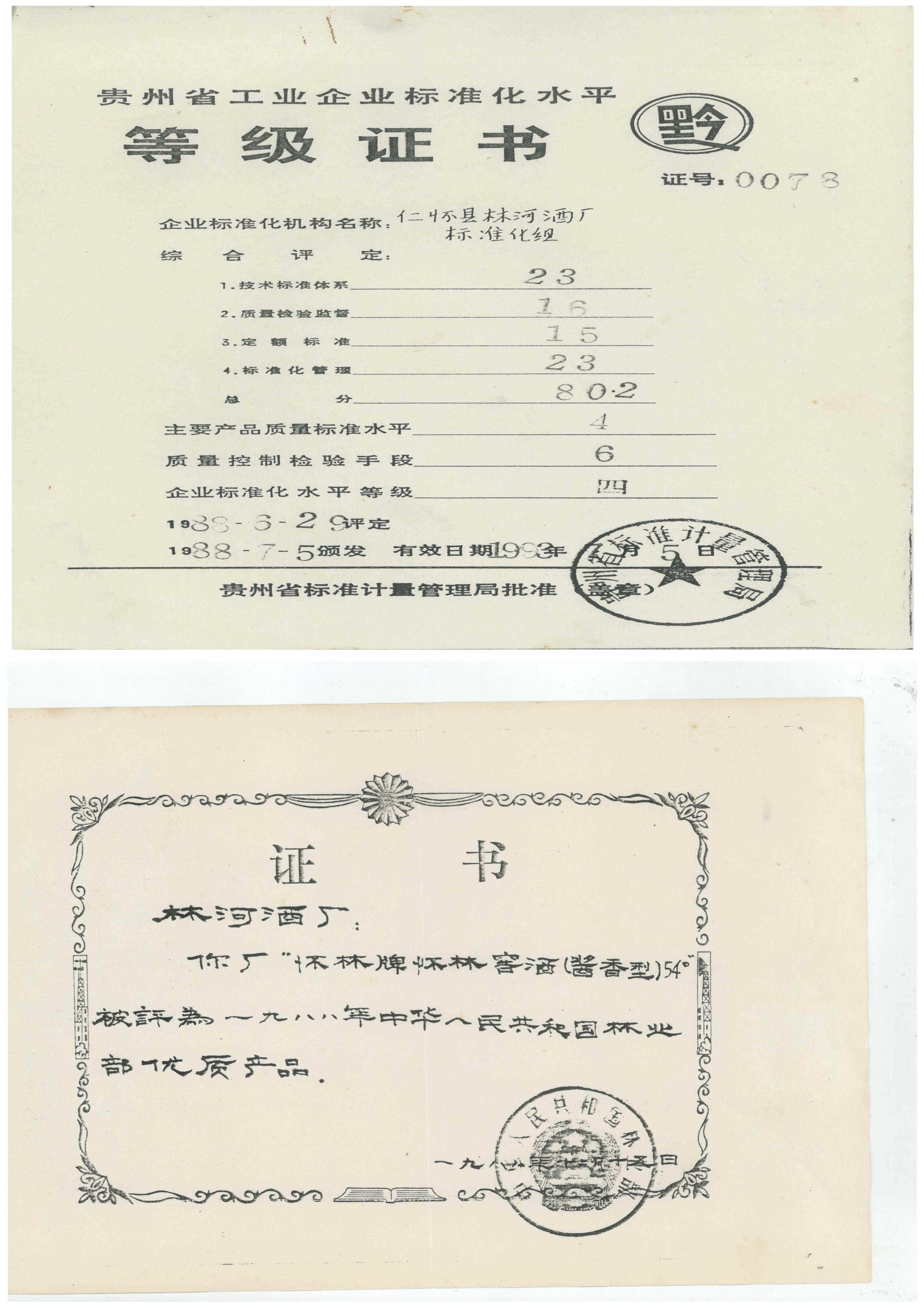 1988年等級證書復