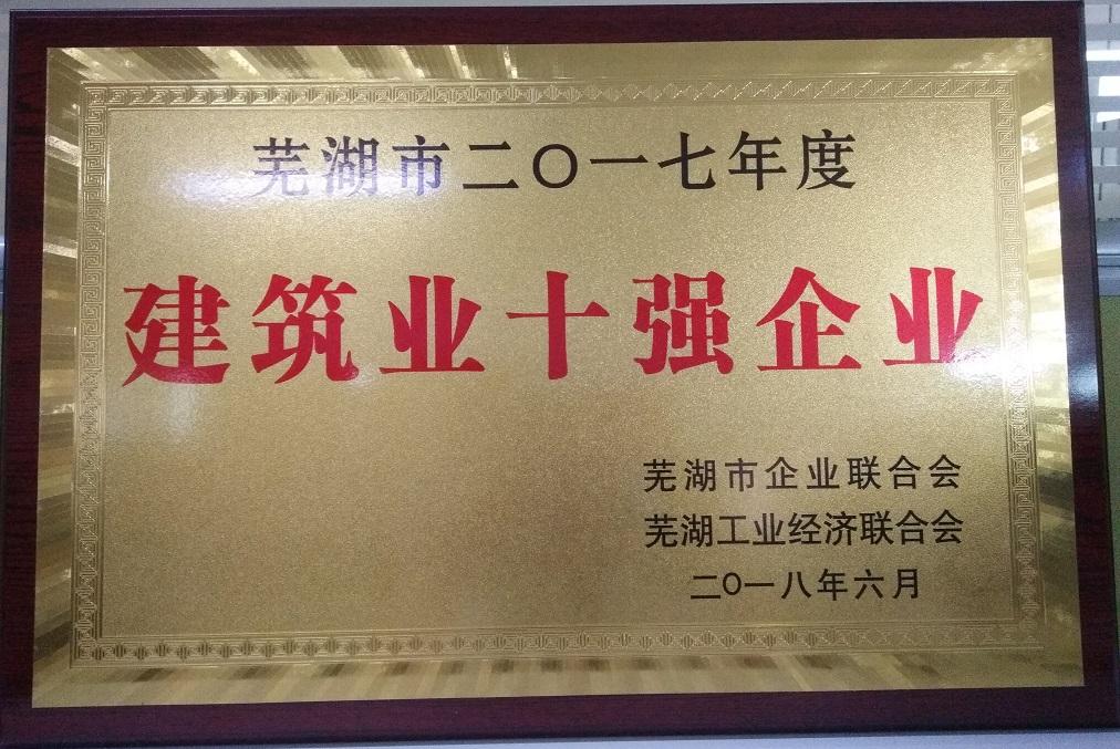 2018.062017年度蕪湖市建筑業十強企業