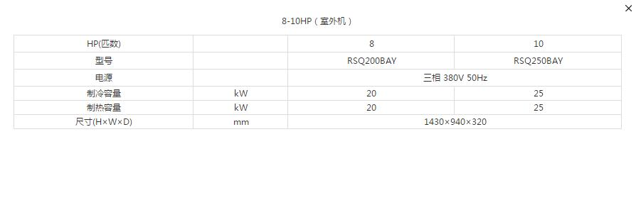 8-10HP-室外機