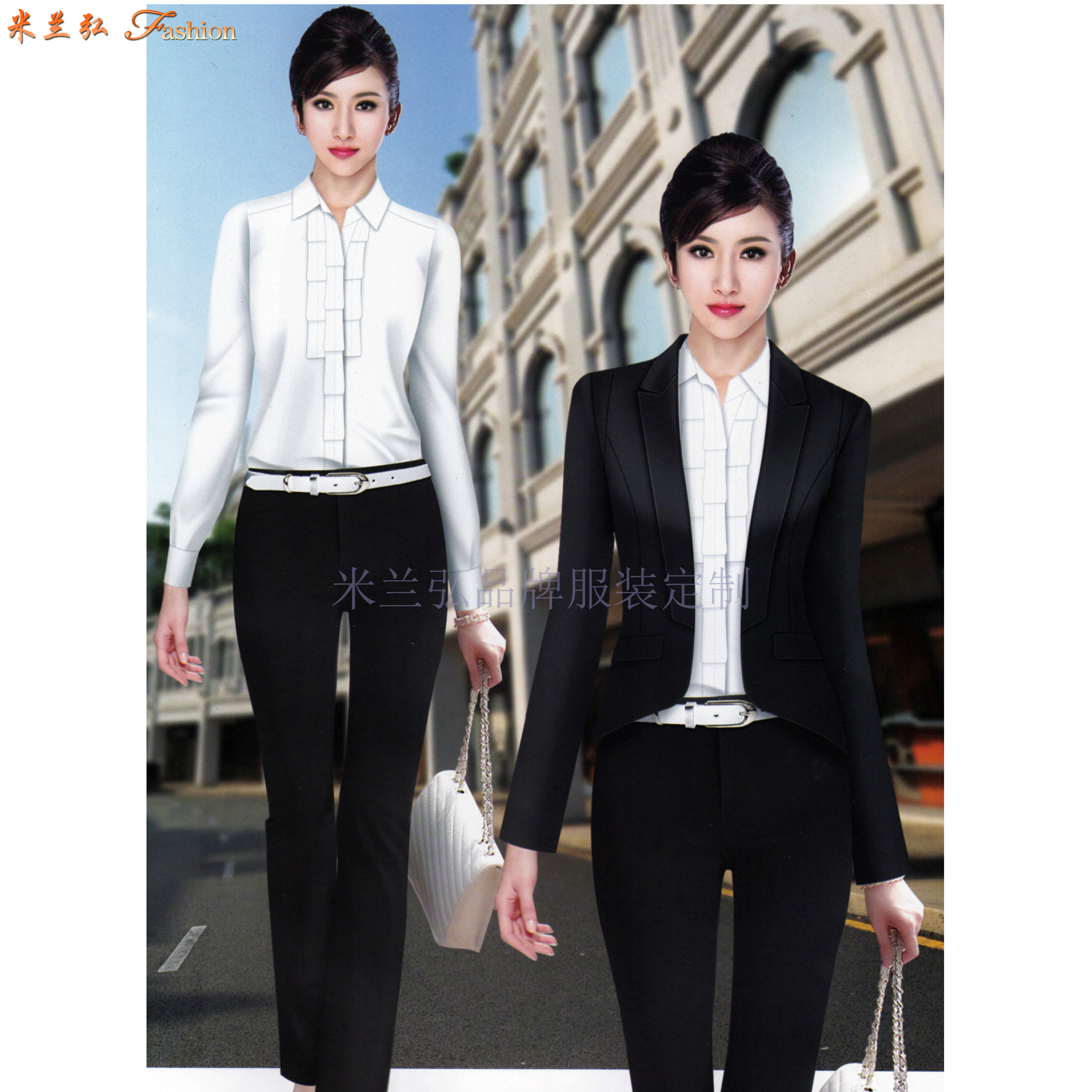 北京高端職業裝定制品牌-米蘭弘公司設計制作職業裝新款女裝圖片-3