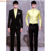 比較正式的商務西服一般選擇黑色或者藏藍色的羊毛面料-米蘭弘-5