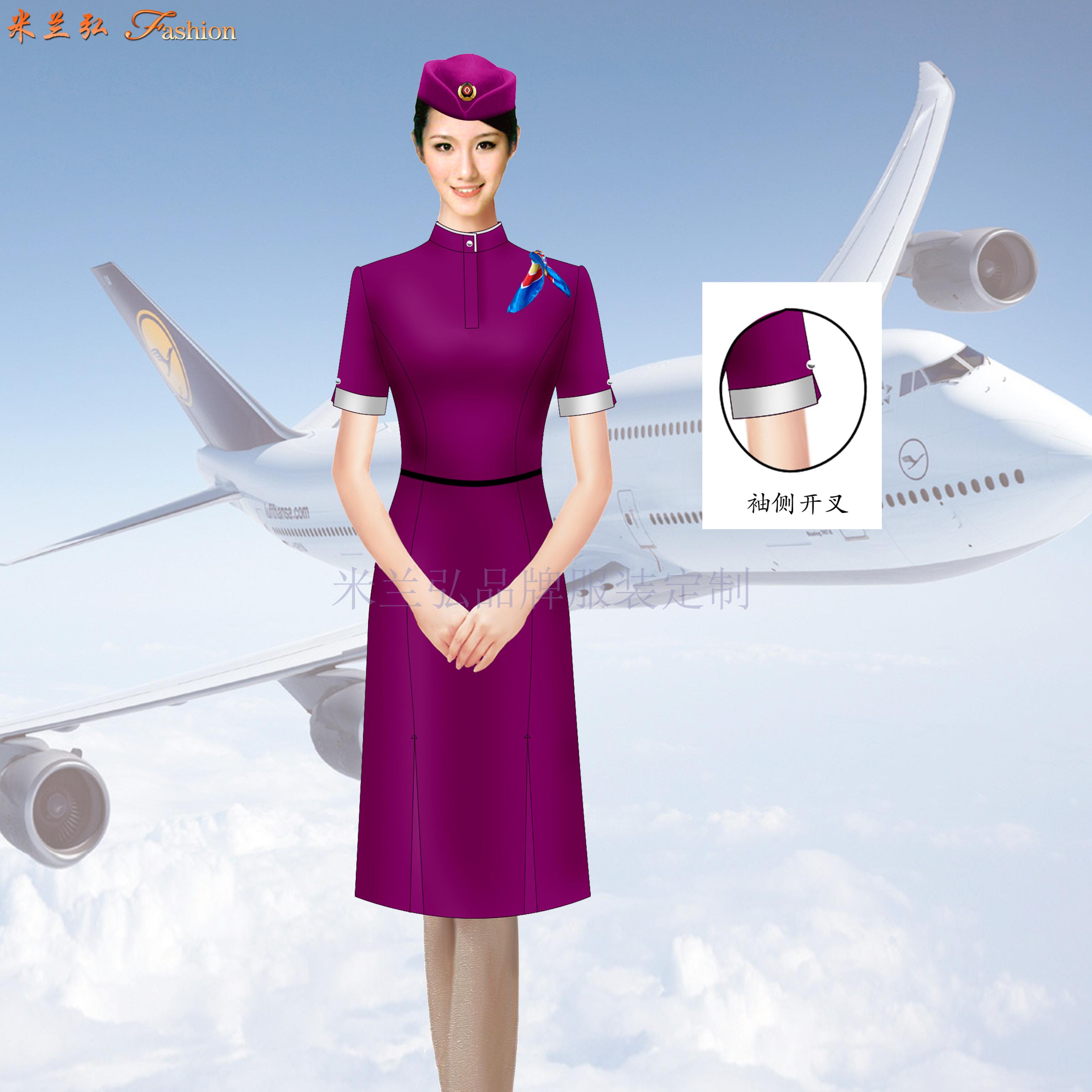 空姐連衣裙製服圖片|高鐵乘務員中式立領連衣裙定做-湖北快3服裝-1