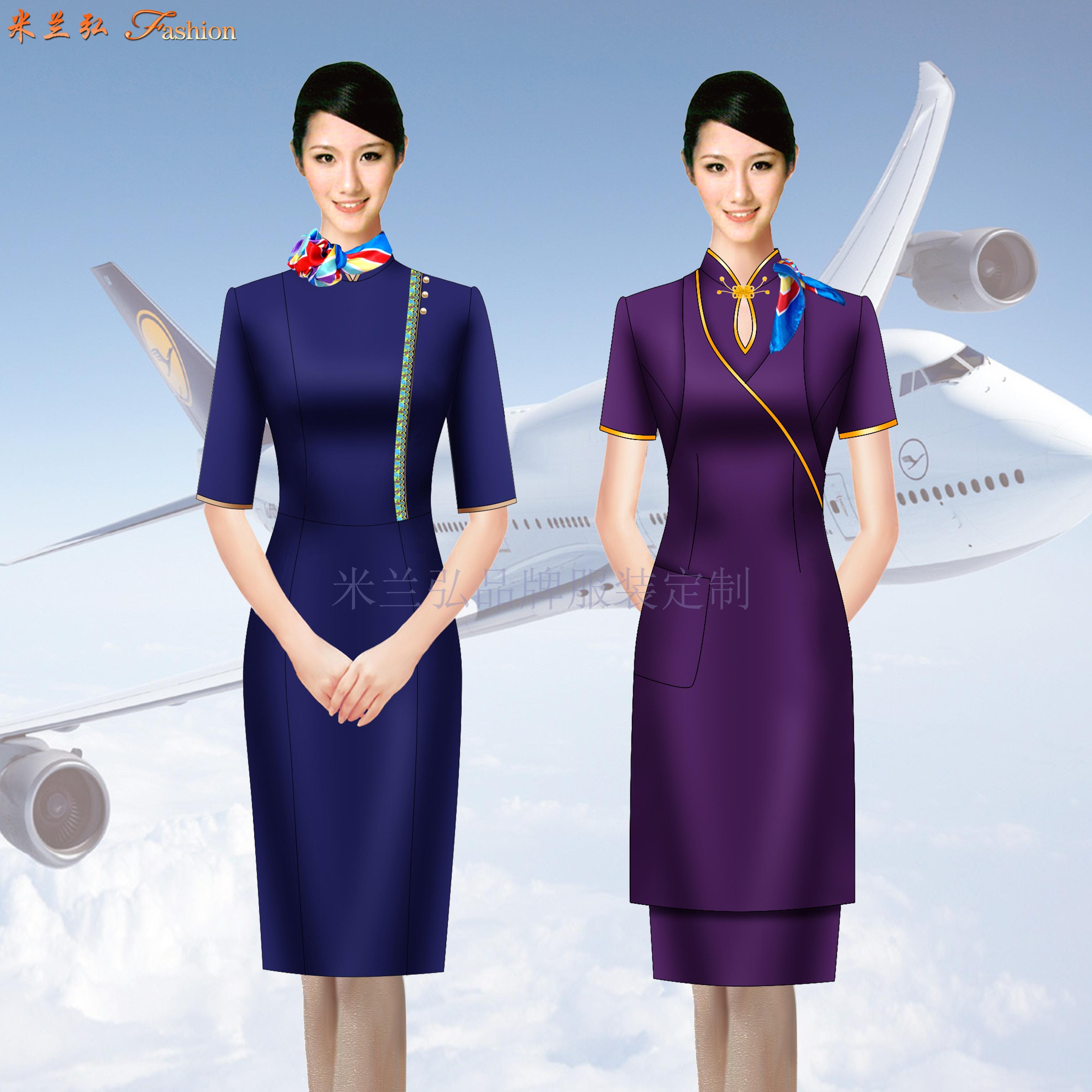 空姐連衣裙制服圖片|高鐵乘務員中式立領連衣裙定做-米蘭弘服裝-2