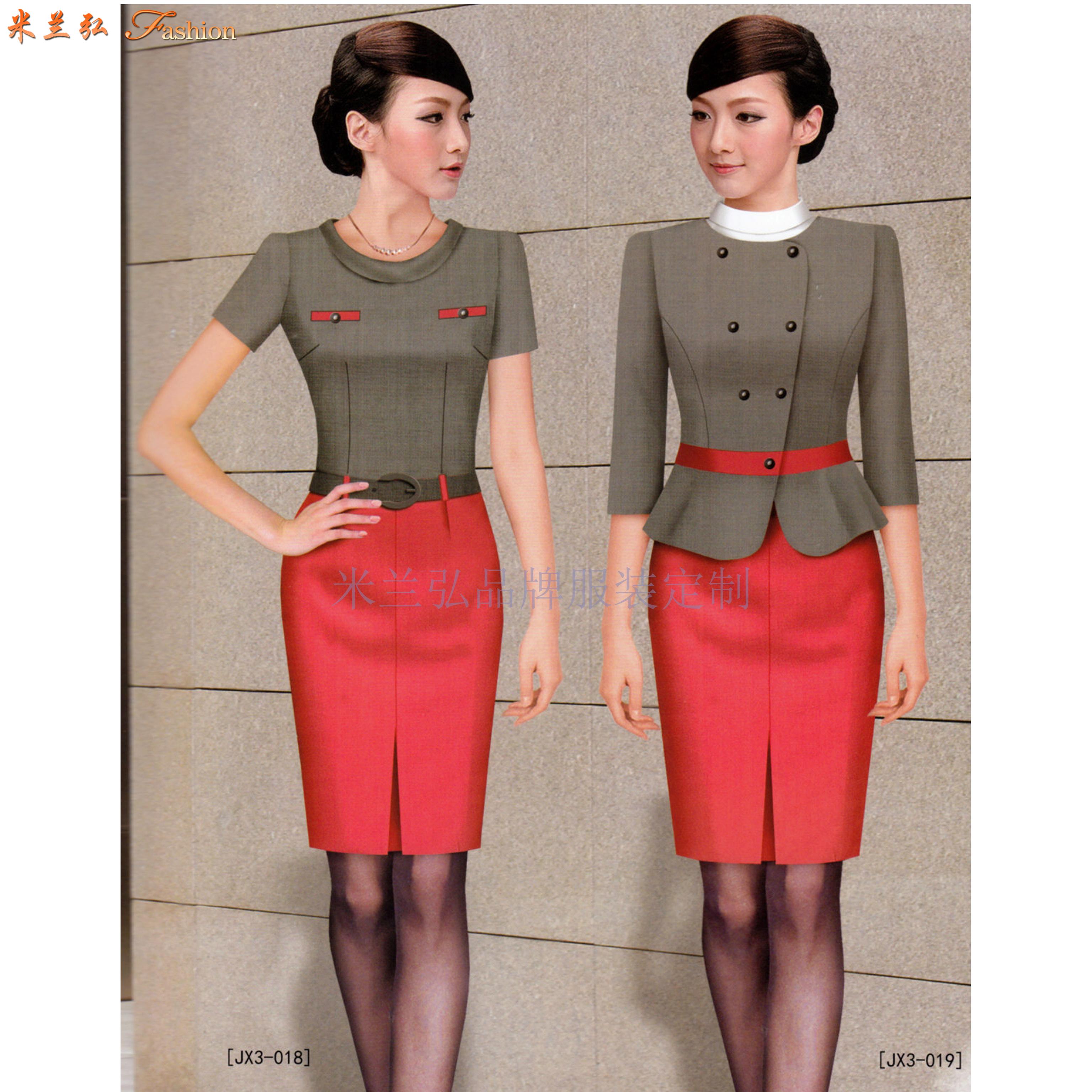 2020夏季女士職業裝搭配_上班職業裝連衣裙定做_米蘭弘服裝-4