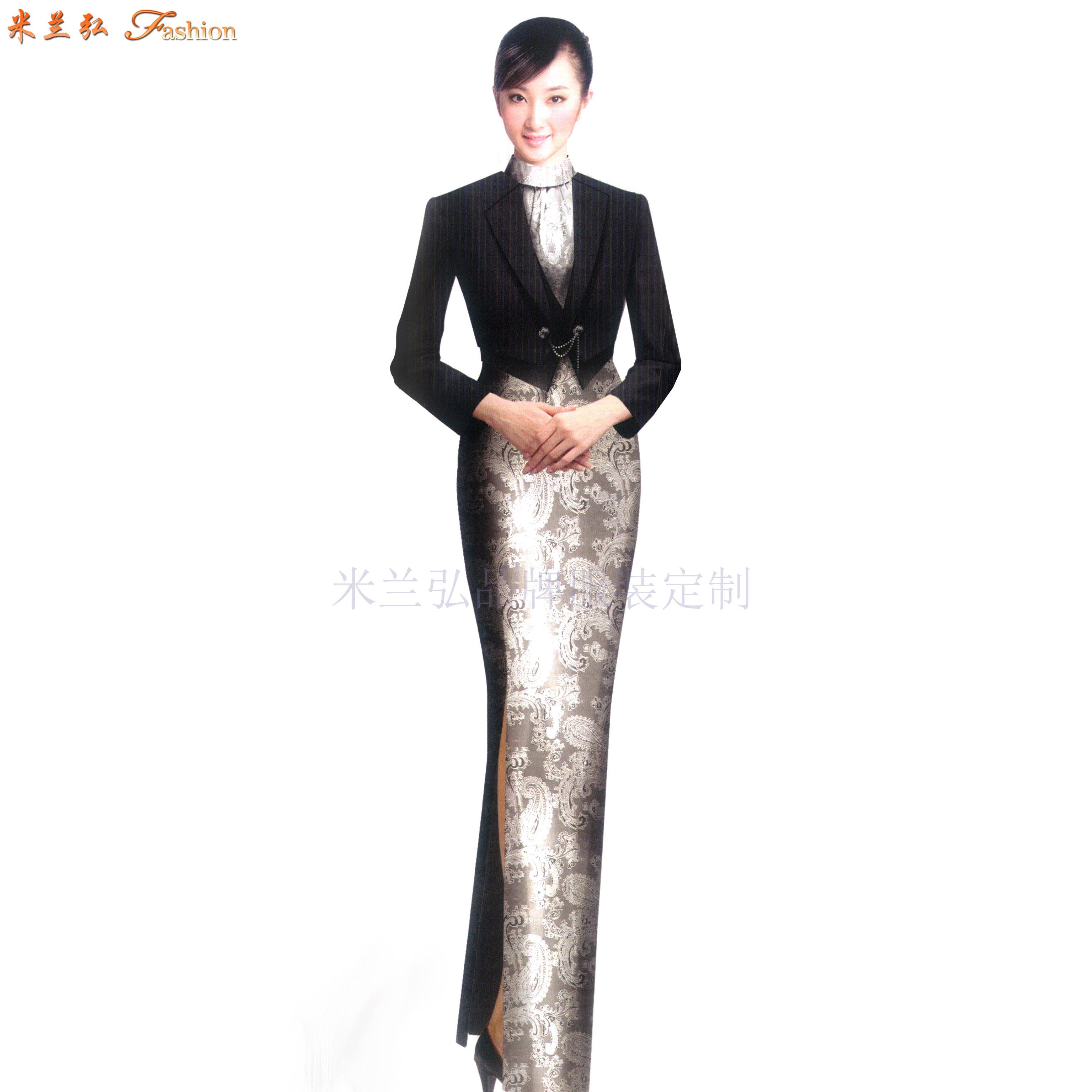 「禮儀旗袍定制款式」「禮儀旗袍訂做圖片」-米蘭弘品牌服裝-2