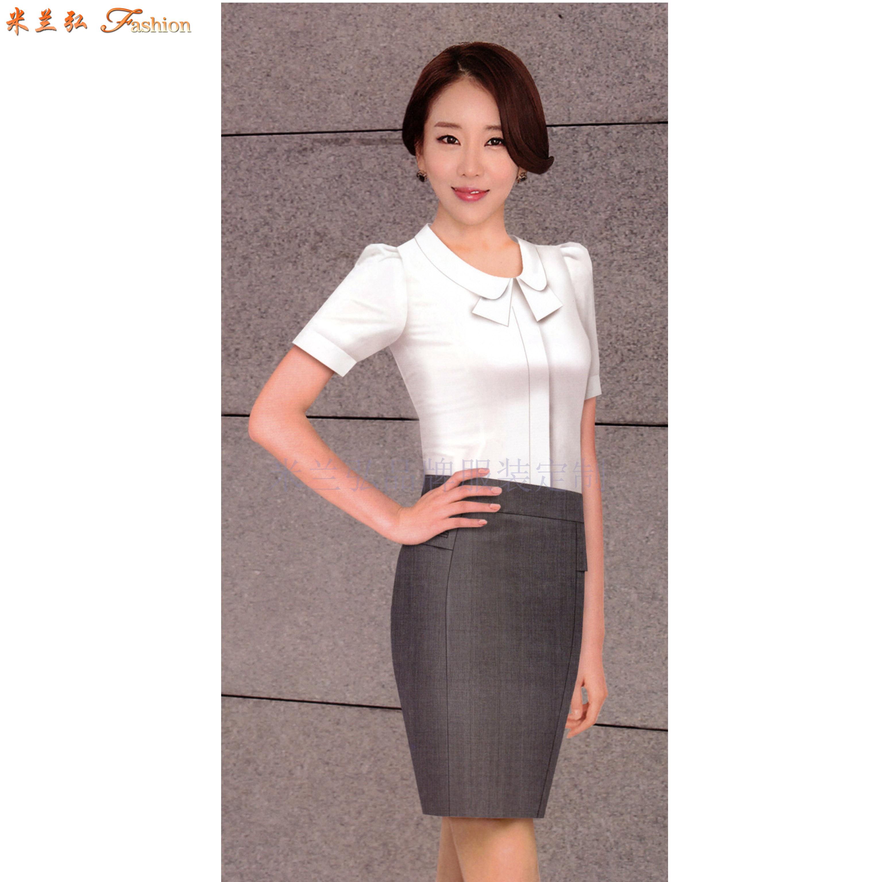 「短袖工作服」供應訂制企業夏天涼爽短袖襯衫套裝-米蘭弘服裝-2