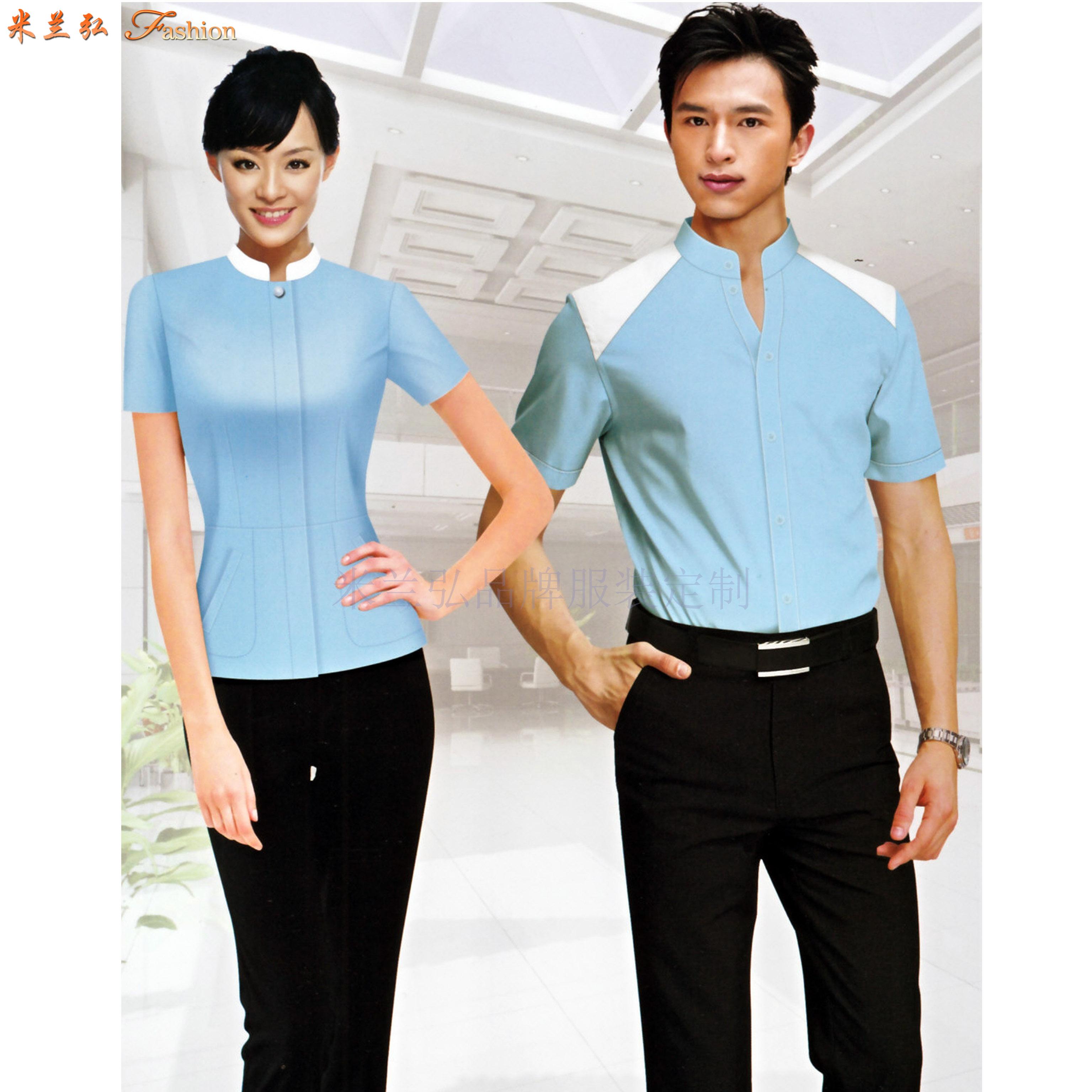 「短袖工作服」供應訂制企業夏天涼爽短袖襯衫套裝-米蘭弘服裝-3