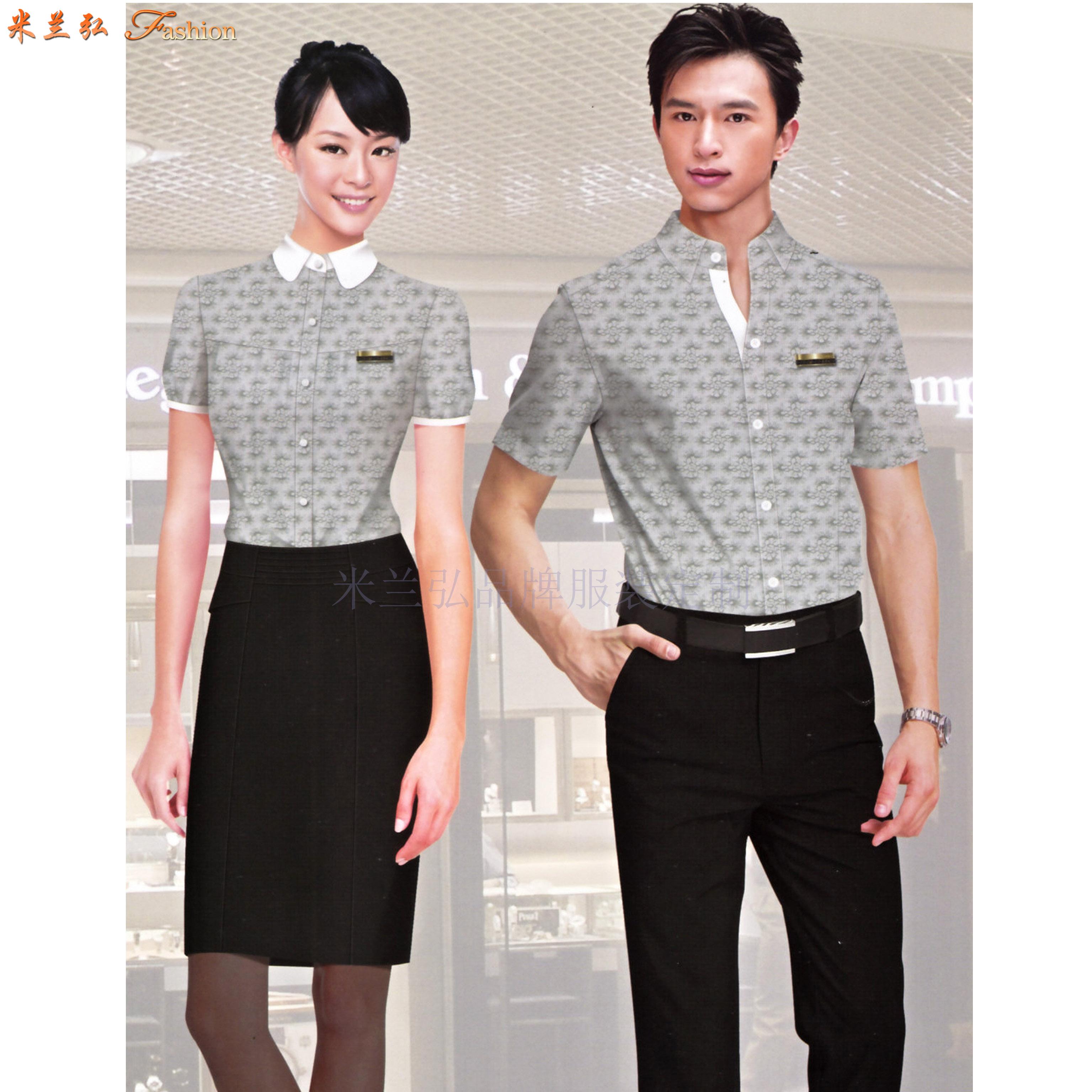 「短袖工作服」供應訂制企業夏天涼爽短袖襯衫套裝-米蘭弘服裝-5