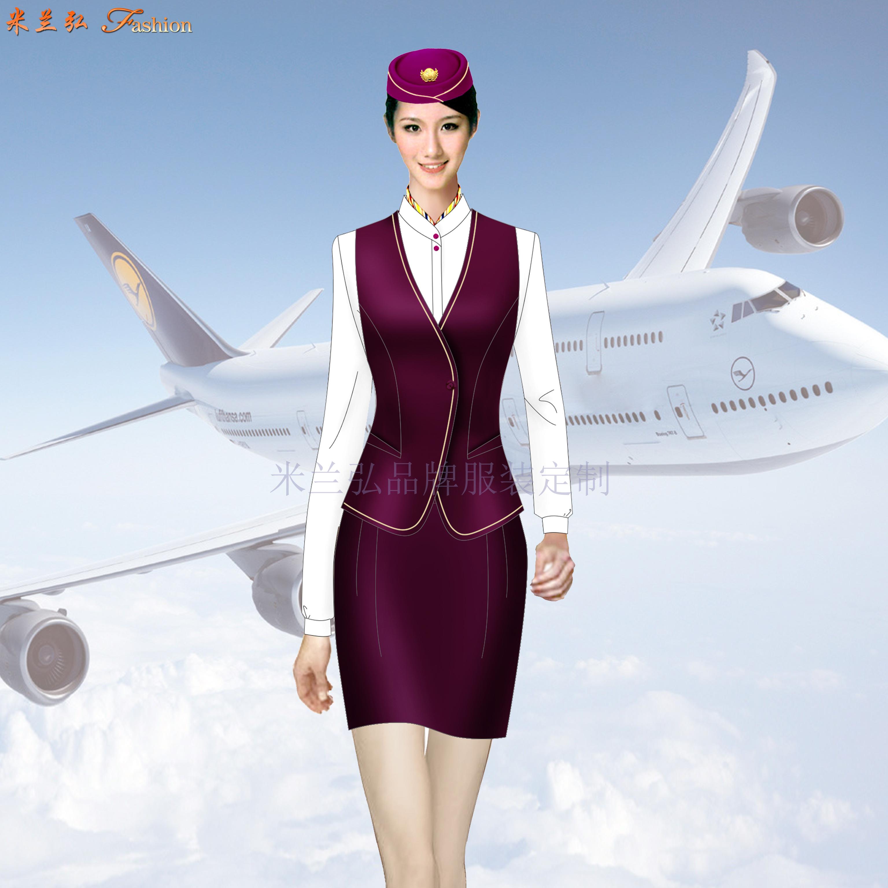 「夏季空姐服」批發定做空姐服夏季短袖套裝廠家-米蘭弘服裝-1