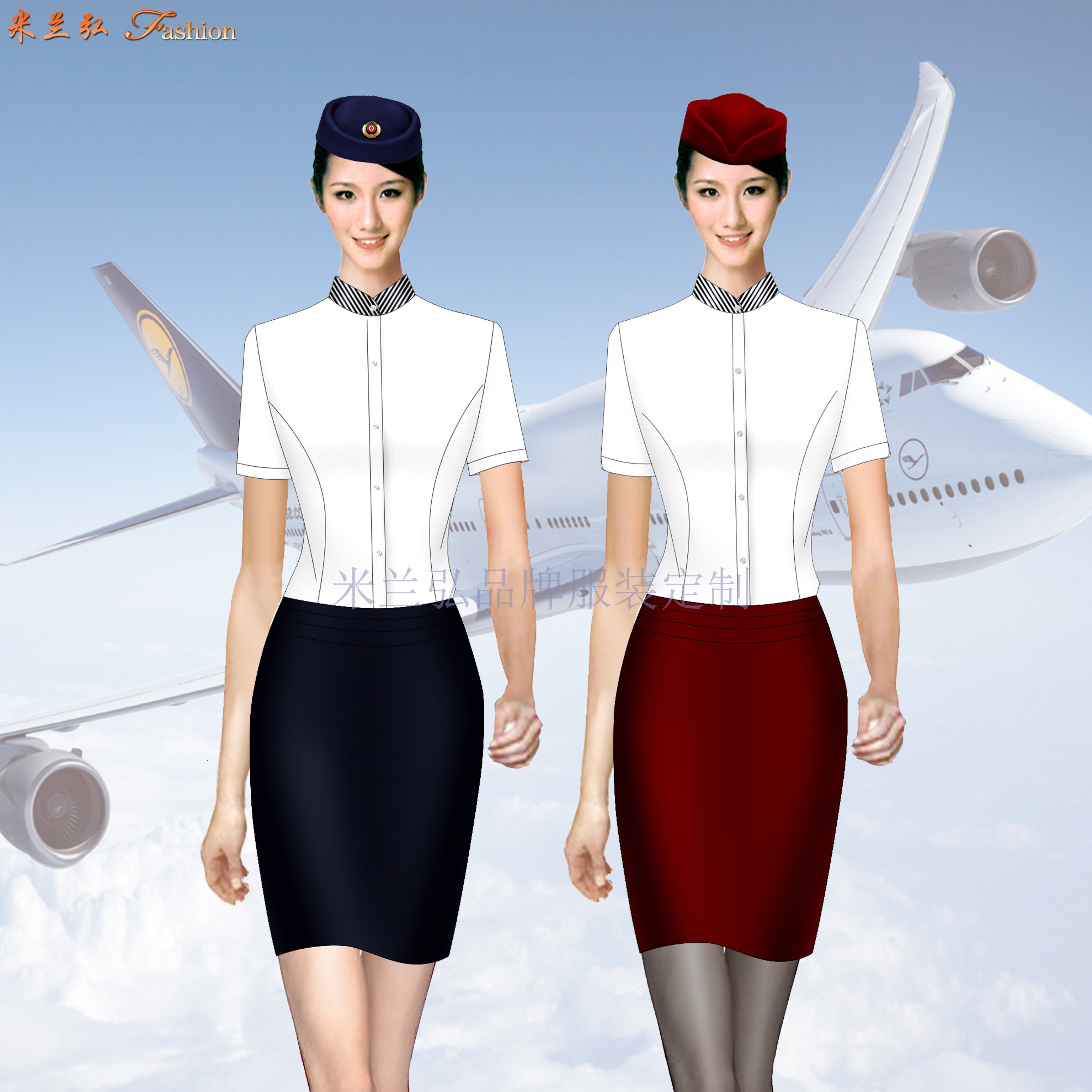 「短袖修身空姐服款式」「短袖靚麗空姐服圖片」-米蘭弘服裝-3