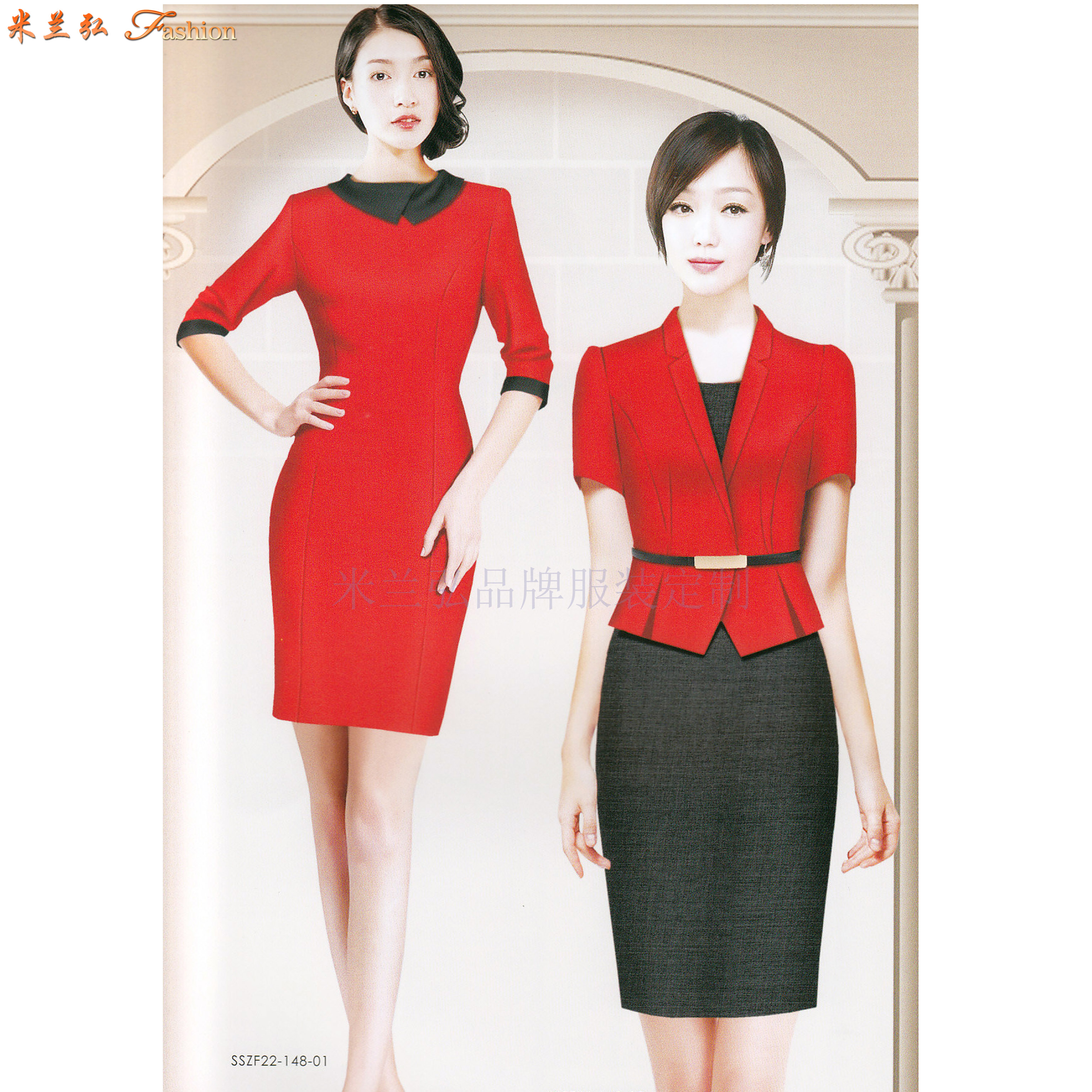 「短袖修身空姐服款式」「短袖靚麗空姐服圖片」-米蘭弘服裝-4