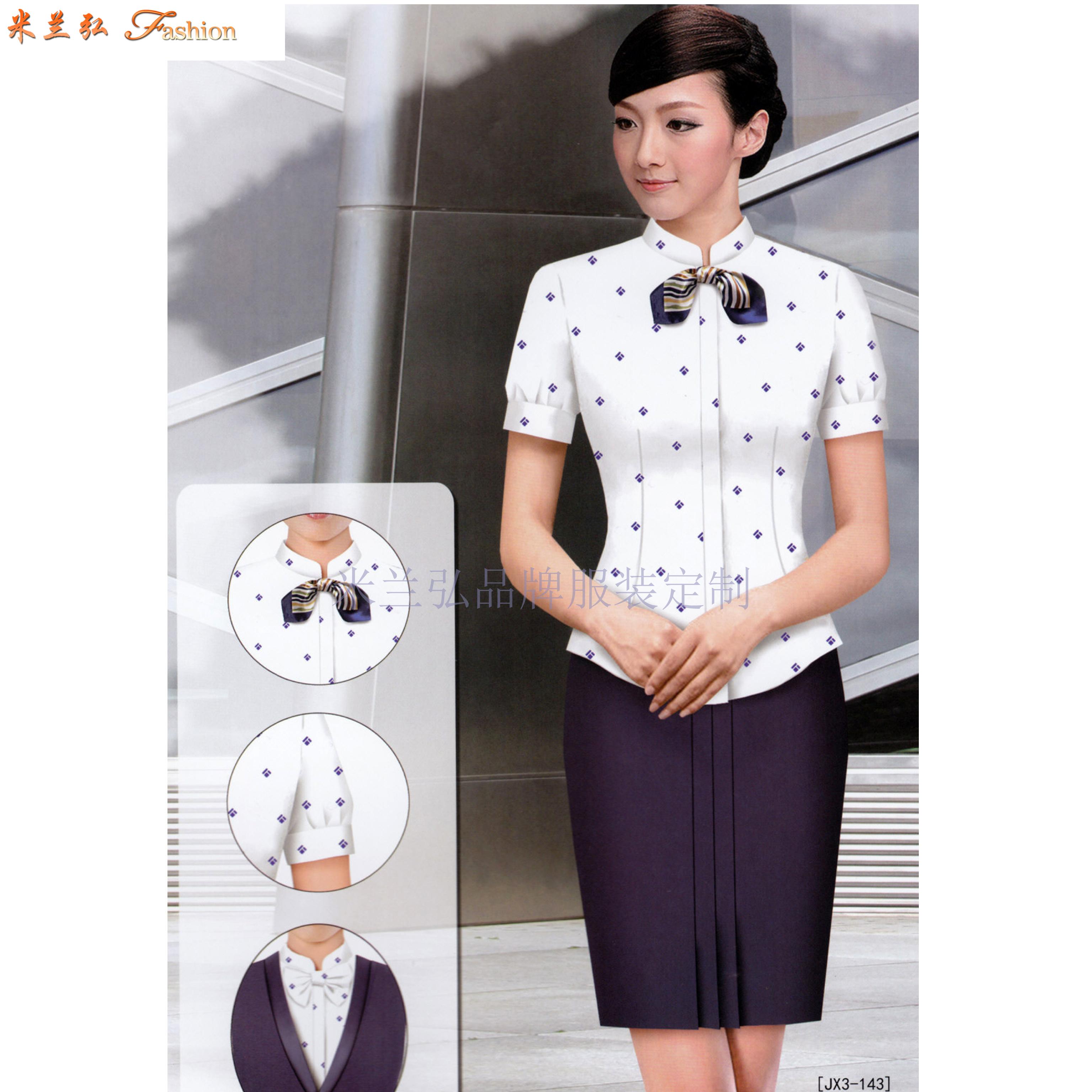 「短袖修身空姐服款式」「短袖靚麗空姐服圖片」-米蘭弘服裝-5