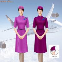 空姐連衣裙制服圖片|高鐵乘務員中式立領連衣裙定做-米蘭弘服裝